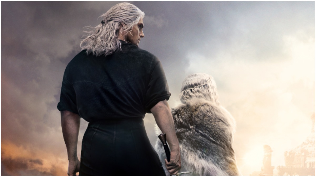 Henry Cavill as Geralt of Rivia and Freya Allan as Ciri, as seen in the promotional poster for Season 2 of Netflix's The Witcher