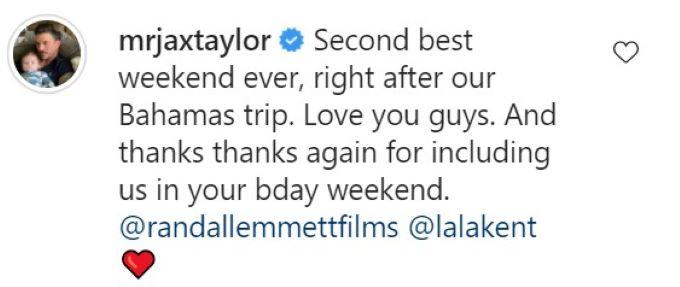 Jax Taylor's comment on Randall Emmett's IG post.