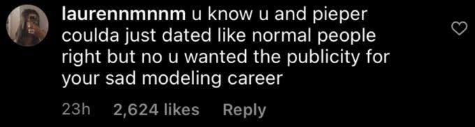 Instagram comment under Brendan's post
