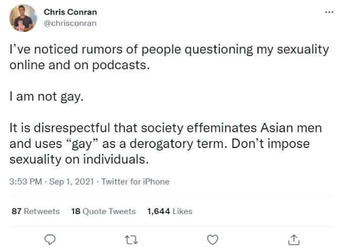 Chris Conran tweeted about rumors regarding his sexuality.