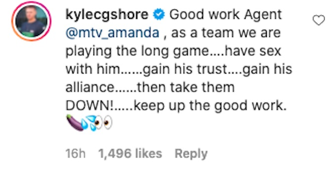 kyle christie of the challenge comments fessy ig post