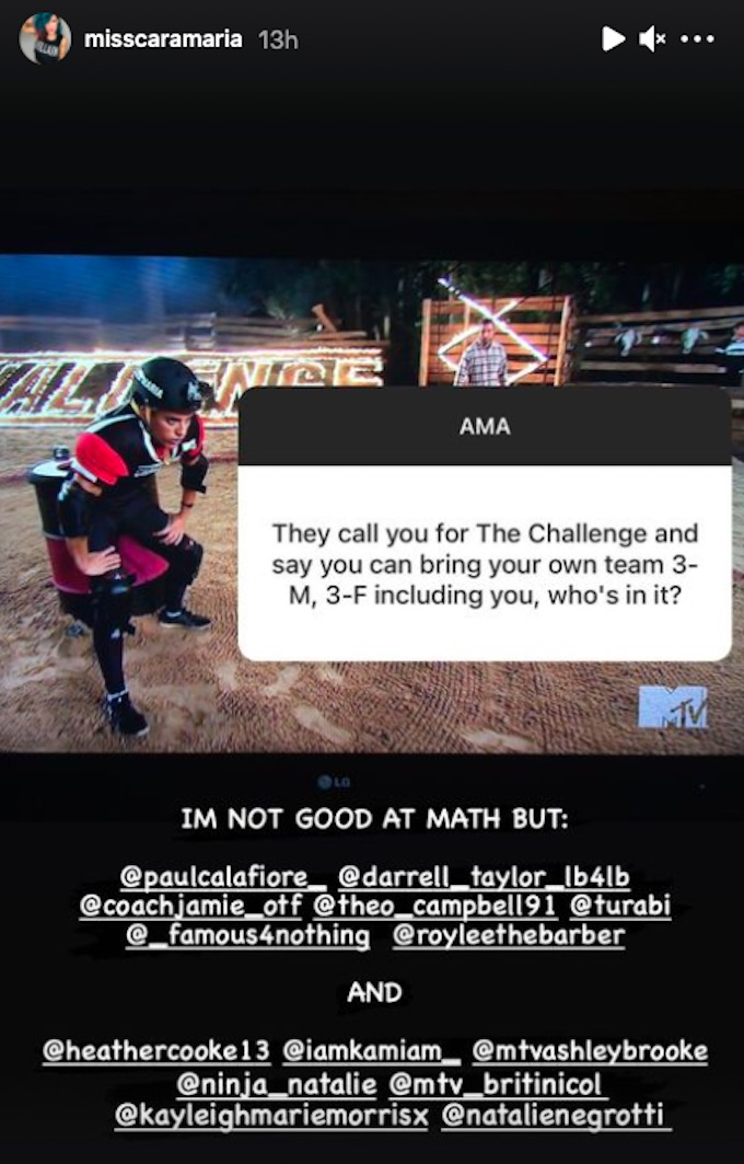cara maria sorbello ig story reply about the challenge