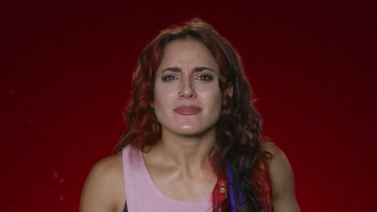 cara maria sorbello of the challenge reacts to paulie calafiore and amber borzotra photo