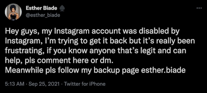 esther agunbiade the challenge tweets about ig account disabled