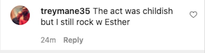 the challenge fan comments about esther season 37 actions