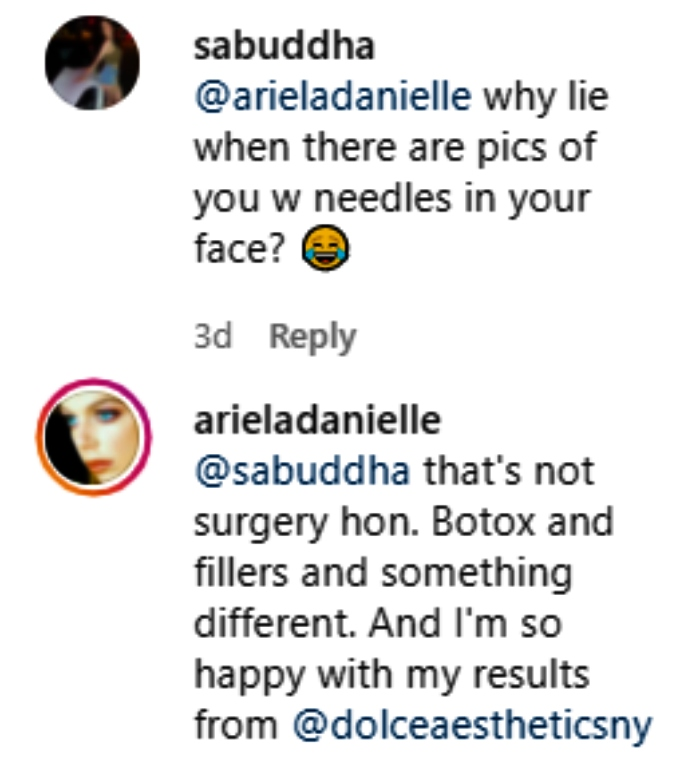 ariela weinberg clapped back at critics on instagram