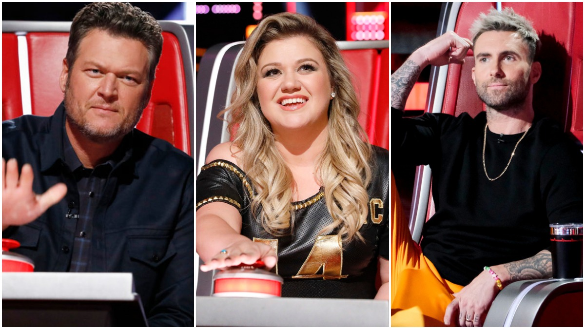 Blake Shelton, Kelly Clarkson, and Adam Levine on The Voice