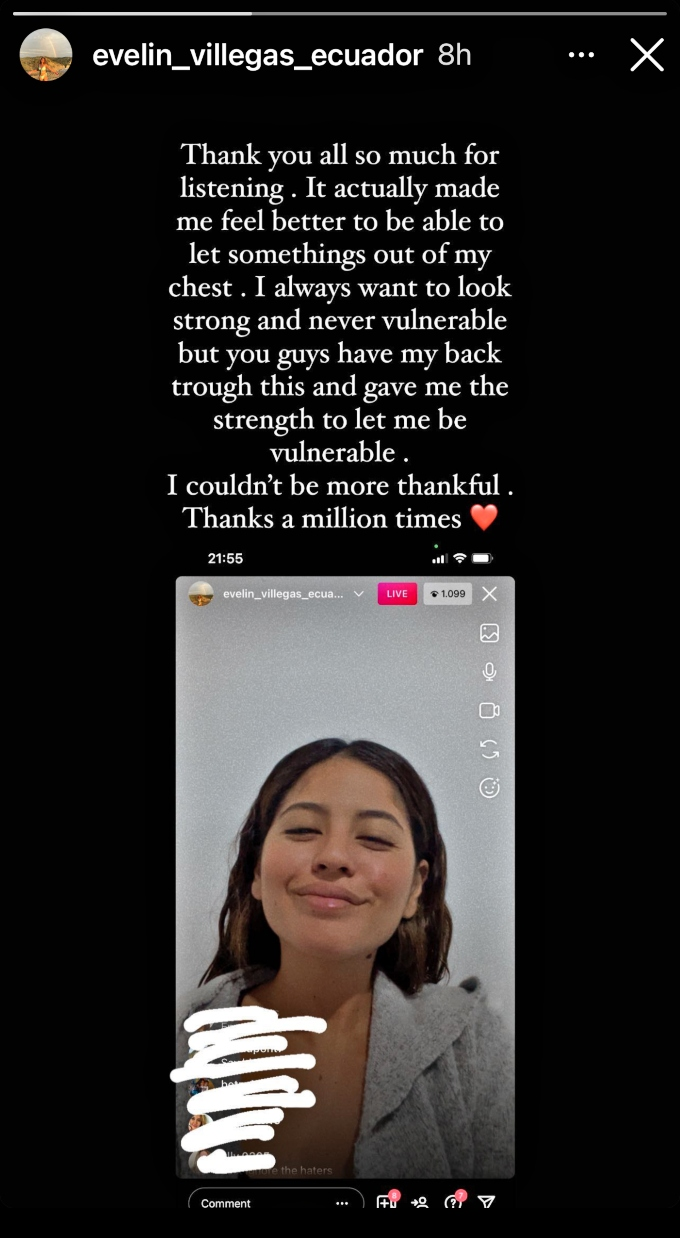 Evelin Villegas thanks her followers for their support