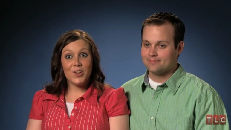 Anna and Josh Duggar in a confessional.