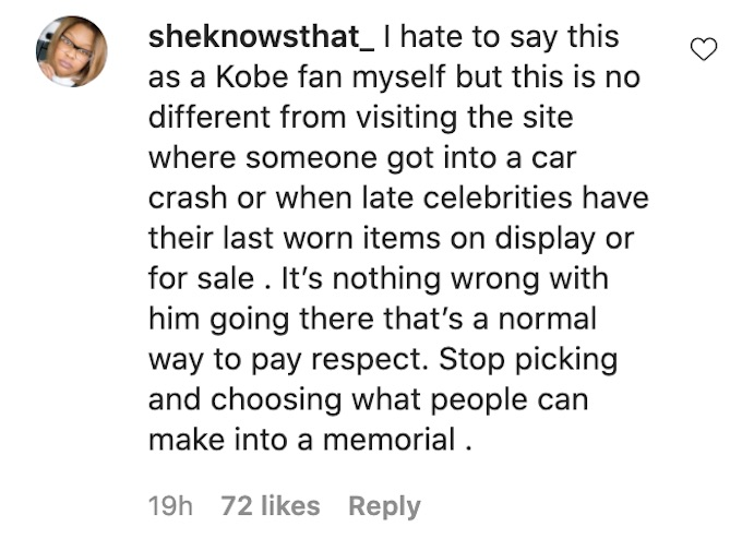 fan defends cory wharton ig post about kobe memorial trip