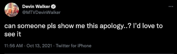 devin walker of the challenge tweets about apology comment