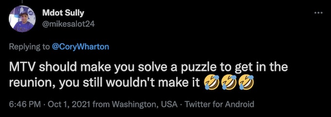 challenge fan tweets to cory wharton about puzzles