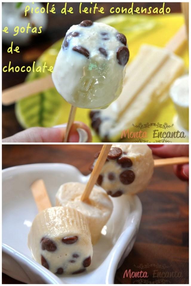 Picolé de Leite Condensado com cookie