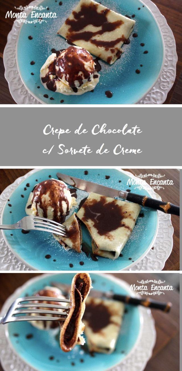 Crepe de chocolate com sorvete