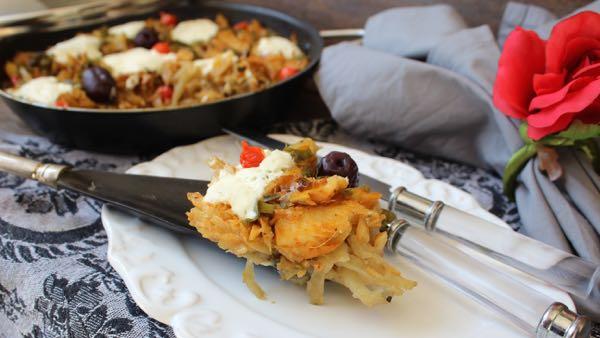 Batata Rosti ao forno de Bacalhau