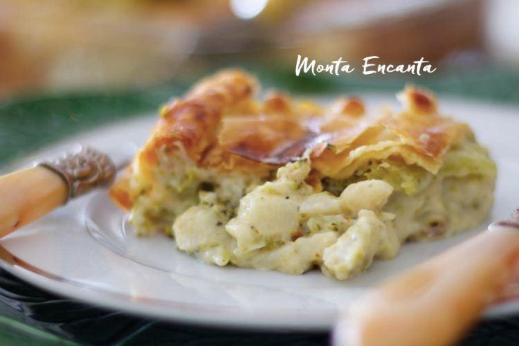 Torta Folhada de Brócolis e Palmito