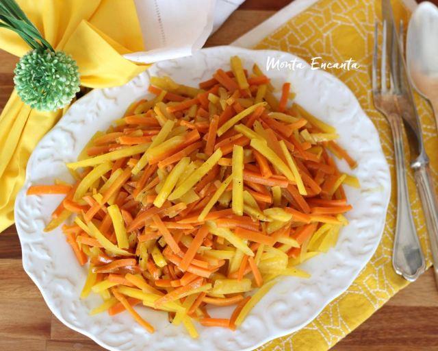 mandioquinha e cenoura saleado na manteiga