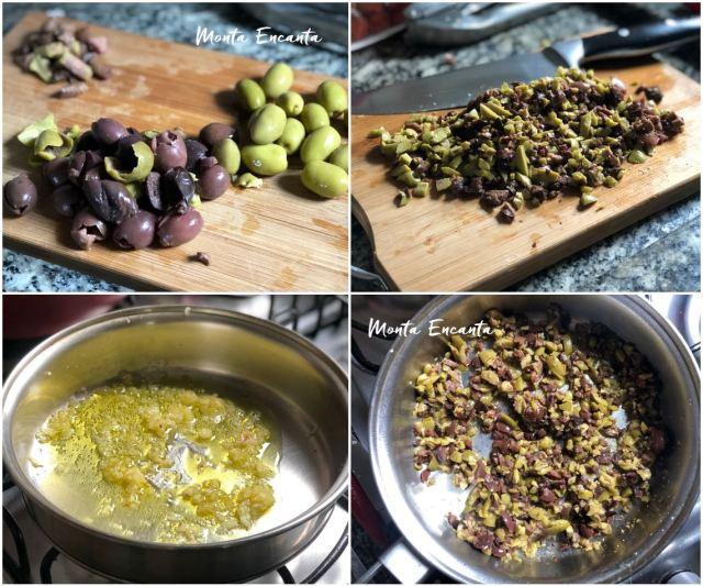 salsicha com tapenade de azeitona