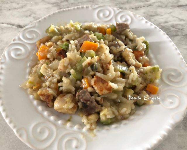 Risoto do Vazio com queijo coalho e legumes!