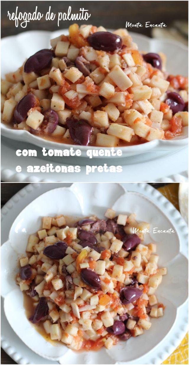 Palmito com tomate quente e azeitonas