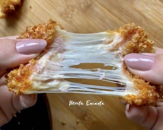 Empanado de presunto e queijo no panko