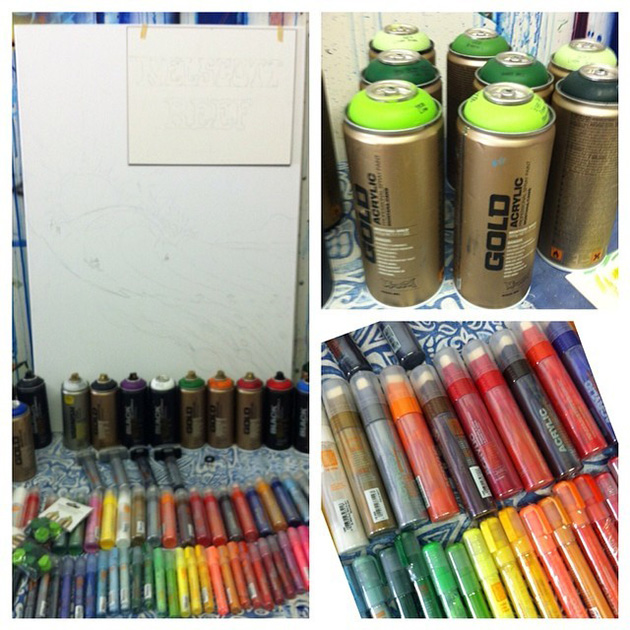 Drew Brophy ready to use Montana Cans paint for Nelscott Reef Painting