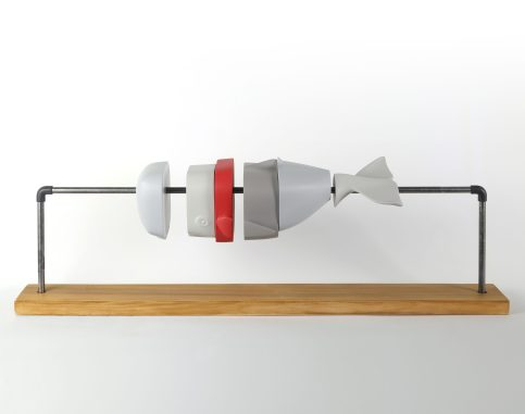 """Ordering machine n°2"" - 89 x 26 x 20 cm - Mixed media with metal support and wood base _rw_3840"