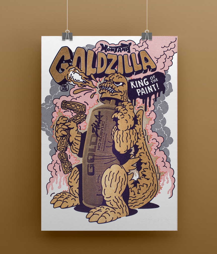 """Limited edition print """"GOLDZilla – The King of Cans"""""""