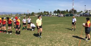 Samsel setting a lineout in Helena