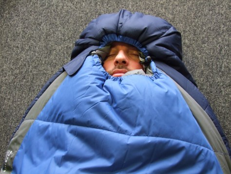 The right size, both for the foot and head. Here a Mountain Hardwear Pinole 20 sleeping bag.