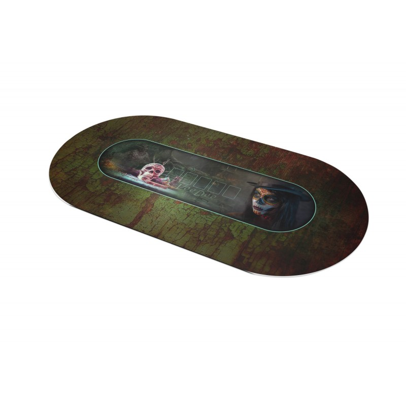 tapis de poker ovale vaudou 180 x 90 cm