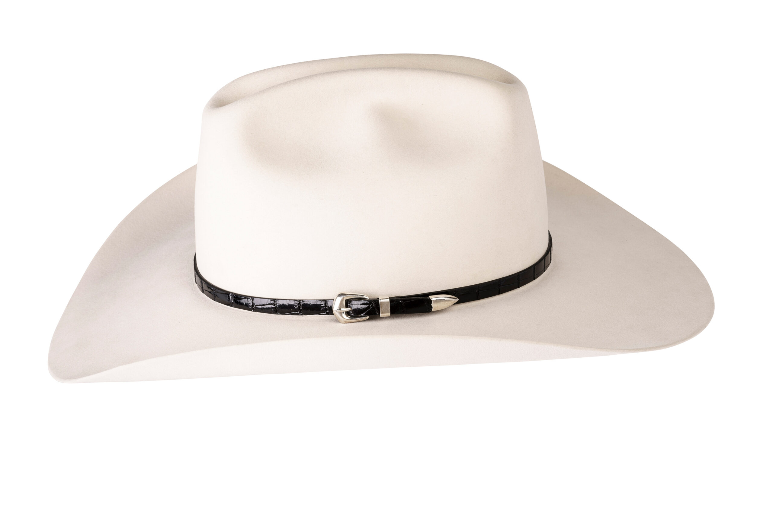 Kallas Black Gator Sterling Buckle Hat Band