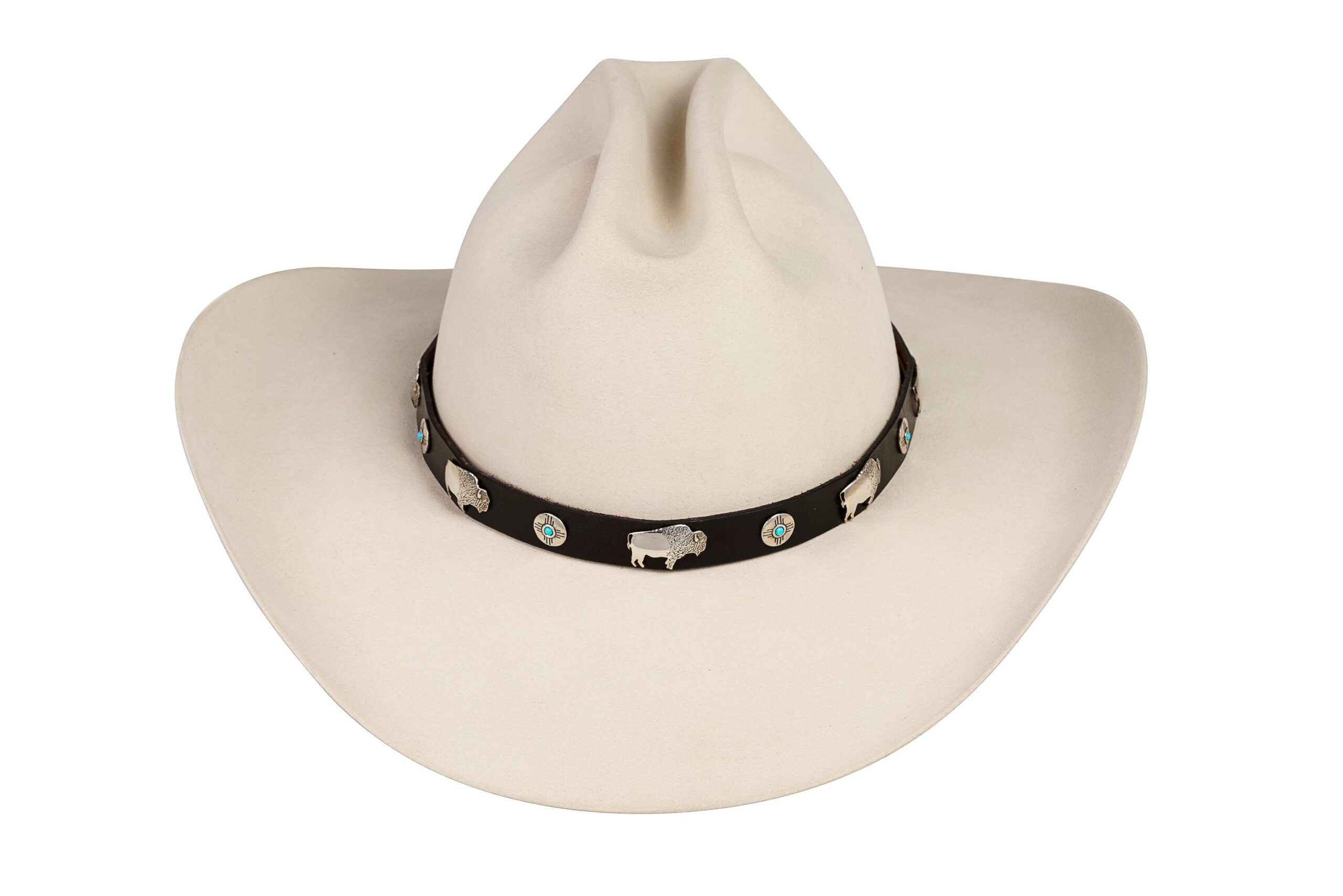 Vinella Large Sterling Buffalos with Engraved Zia with Turquoise Hat Band