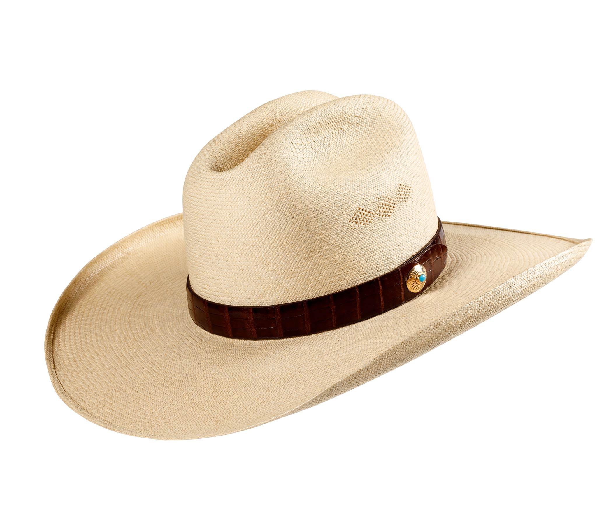 Wide brimmed Tecate Cattleman Panama Hat