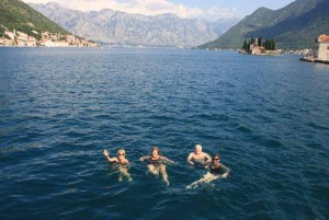 Swimming near Perast Montenegro on boat trip A Day out on Monty B
