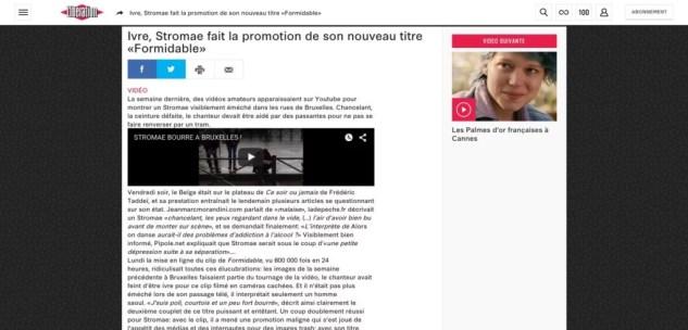 Ivre Stromae fait la promotion de son nouveau titre «Formidable» Culture Next