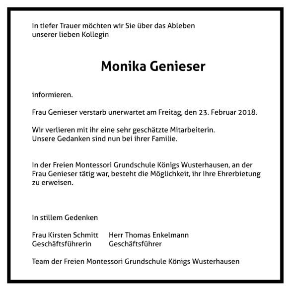 Montessori Grundschule Königs Wusterhausen_Traueranzeige_Monika Genieser