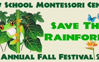 "New School 2015 Fall Festival Logo shows a frog on branch wth leaves behind and ""Save the Rainforest"" with two blue butterflies and a bird of paradise flower"