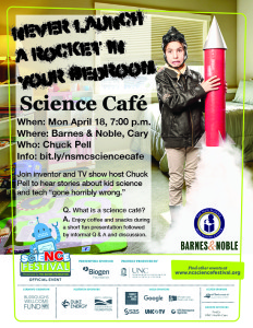 8x11 flyer for science cafe event never launch a rocket in your bedroom with a boy in a bedroom holding a rocket and event information