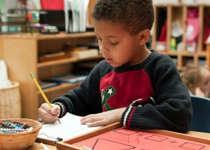 young diversity boy sitting at desk writing holly springs school