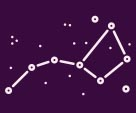 stylized graphic of big dipper constellation on blue background