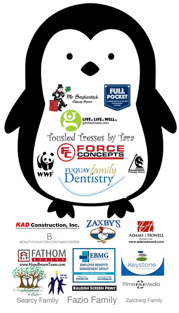 penguin cartoon with fall festival 2018 sponsor logos