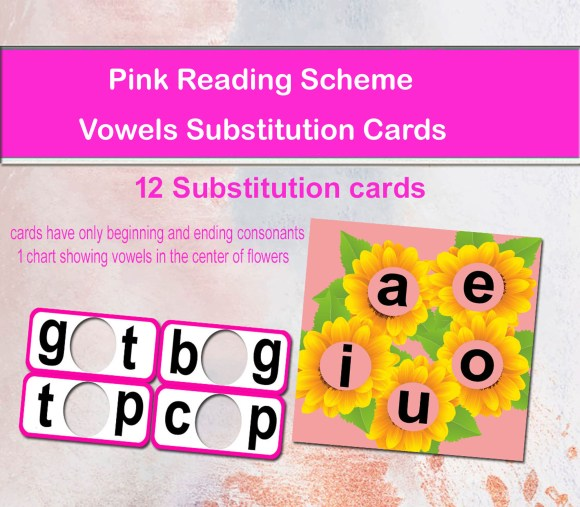 Pink Vowels Substitution Cards and Chart
