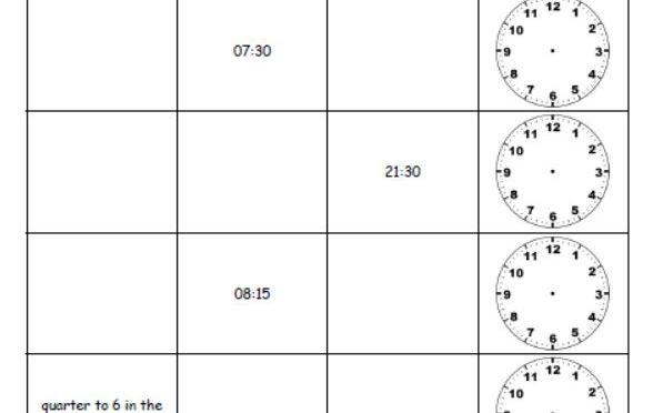 Telling time sheet