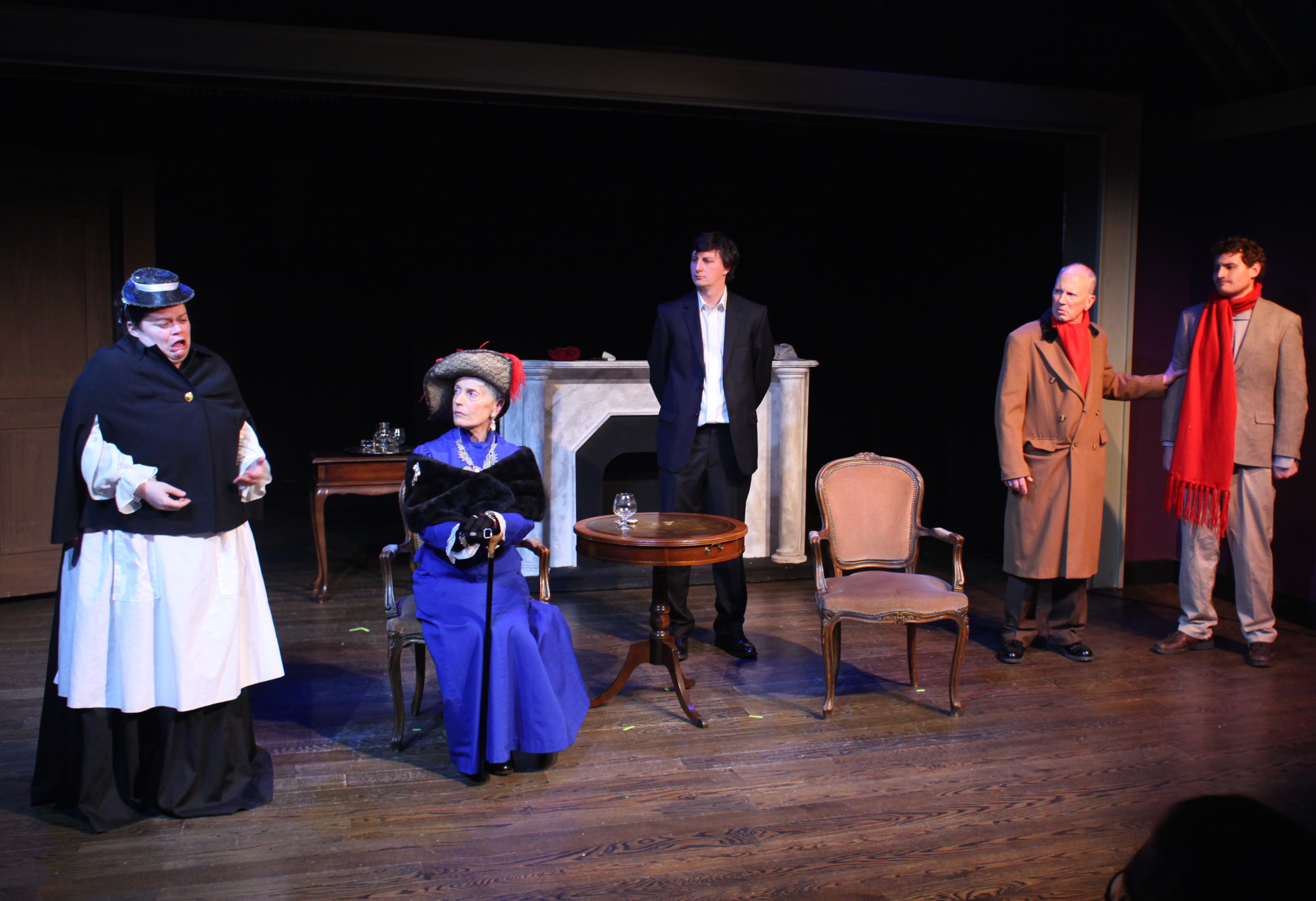 Betsy tell all - Betsy (Anne Vandersook), The Countess (Laura Cox), Sherlock Holmes (Matt Sims), Dr Watson (Paul Noga), and Robins (Samuel Pollin)