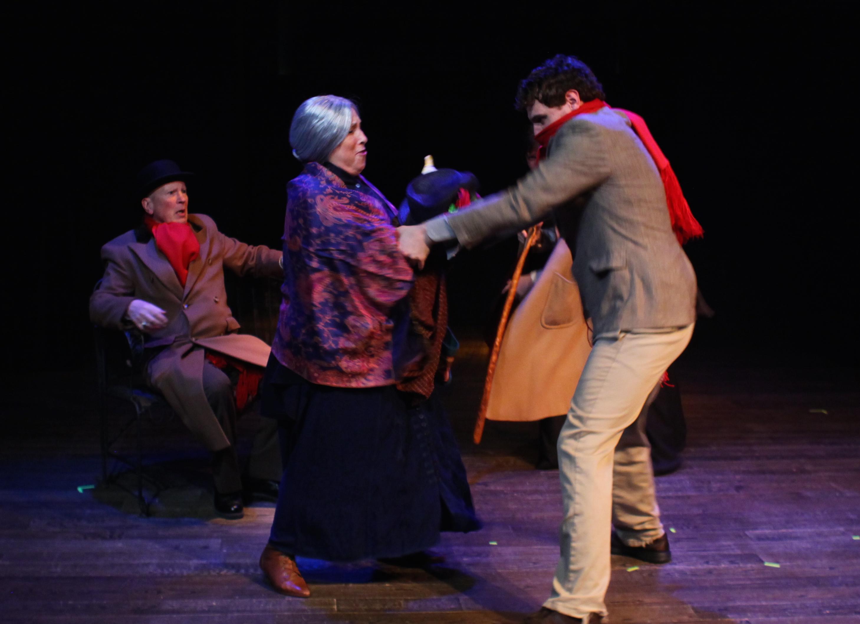 I'll take that goose! - Dr Watson (Paul Noga), Old Woman (Joy Gerst), and Man (Samuel Pollin)