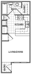 Studio / 1 Bath / 377 sq ft / Availability: Please Call / Deposit: $150