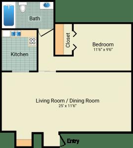 1 Bed / 1 Bath / 540 sq ft / Rent: $550