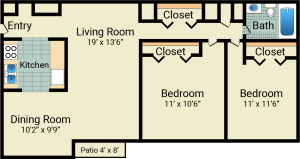 2 bed, 1 bath, 1017 sqft