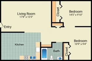 2 Bed / 1 Bath / 648 sq ft / Rent: $575